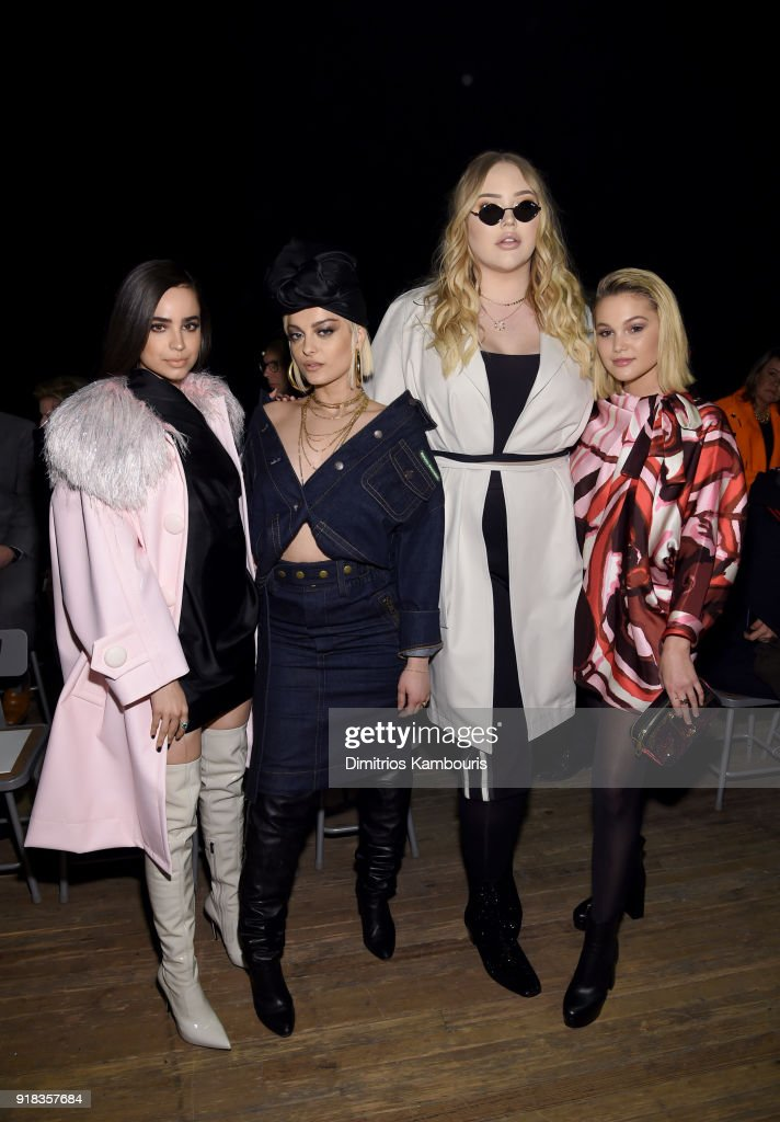 Sofia Carson, Bebe Rexha, Nikkie De Jager, and Olivia Holt attend the Marc Jacobs Fall 2018 Show at Park Avenue Armory on February 14, 2018 in New York City.