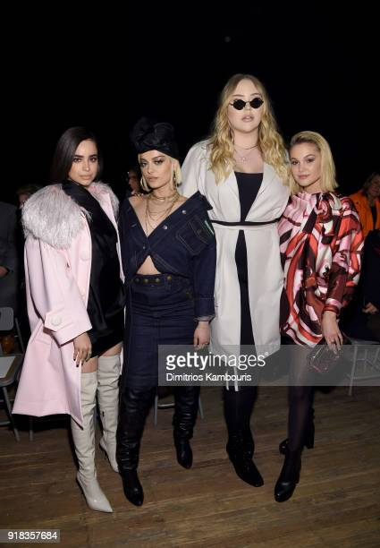 Sofia Carson Bebe Rexha Nikkie De Jager and Olivia Holt attend the Marc Jacobs Fall 2018 Show at Park Avenue Armory on February 14 2018 in New York...