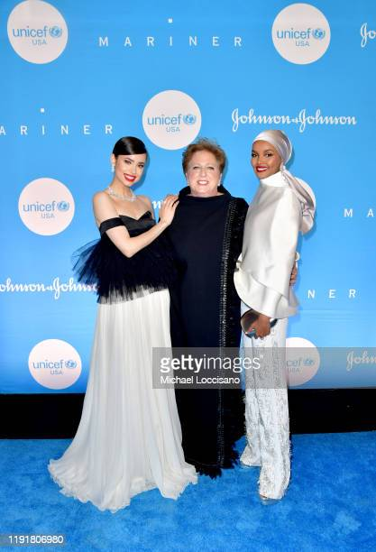 Sofia Carson Caryl M Stern and Halima Aden at the 15th Annual UNICEF Snowflake Ball 2019 at 60 Wall Street Atrium on December 03 2019 in New York City