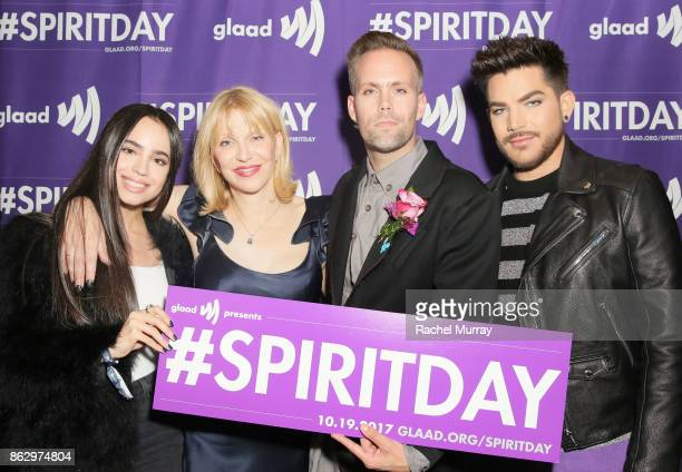 Sofia Carson Courtney Love Justin Tranter and Adam Lambert attend the 'Believer' Spirit Day Concert presented by Justin Tranter and GLAAD at Sayer's...