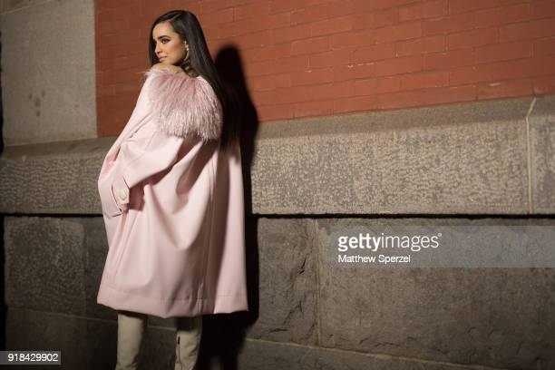 Sofia Carson is seen on the street attending Marc Jacobs during New York Fashion Week wearing Marc Jacobs on February 14 2018 in New York City
