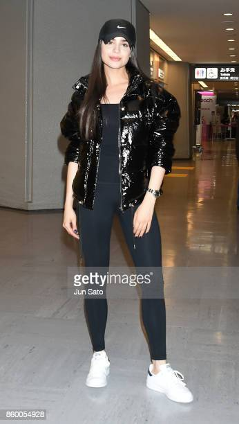 Sofia Carson is seen upon arrival at Narita International Airport on October 11 2017 in Narita Japan