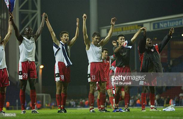 Sofia celebrate after the UEFA Cup first round, first leg match between Blackburn Rovers and CSKA Sofia at Ewood Park, Blackburn, England on...