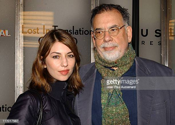 """Sofia Coppola and Francis Ford Coppola during """"Lost in Translation"""" DVD Launch Party at Koi Restaurant in Los Angeles, California, United States."""