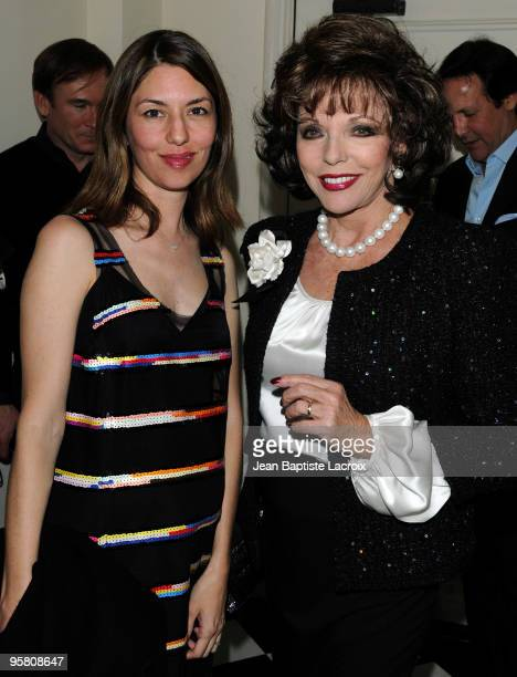 Sofia Coppola and Joan Collins arrive at the NY Times Style Magazine's Golden Globe Awards Cocktail at Chateau Marmont on January 15 2010 in Los...
