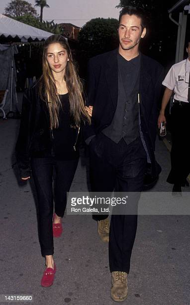 Sofia Coppola and Keanu Reeves attend Seventh Annual IFPWest Independent Spirit Awards on March 28 1992 at Raleigh Studios in Hollywood California
