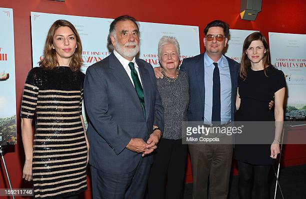 Sofia Coppola Francis Ford Coppola Eleanor Coppola Roman Coppola and Jennifer Furches attend a screening of A Glimpse Inside The Mind Of Charles Swan...