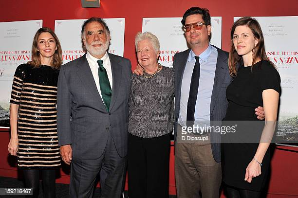 "Sofia Coppola, Francis Ford Coppola, Eleanor Coppola, Roman Coppola, and Jennifer Furches attend a screening of ""A Glimpse Inside The Mind Of Charles..."