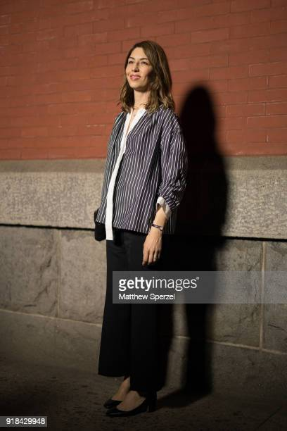 Sofia Coppola is seen on the street attending Marc Jacobs during New York Fashion Week wearing Marc Jacobs on February 14 2018 in New York City