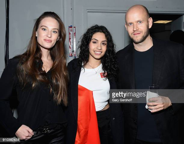Sofia Ek Alessia Cara and Spotify CEO Daniel Ek attend 'Spotify's Best New Artist Party' at Skylight Clarkson on January 25 2018 in New York City