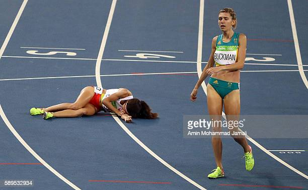 Sofia Ennaoui falls after she competed in the Women's 1500m Semifinal during the athletics event at the Rio 2016 Olympic Games on August 14 2016 in...