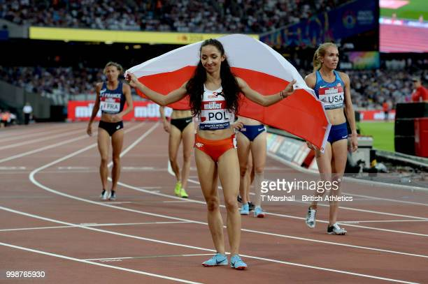 Sofia Ennaoui of Poland celebrates after victory in the Women's 1500m during day one of the Athletics World Cup London at the London Stadium on July...
