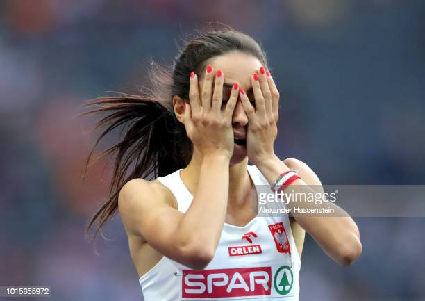 Sofia Ennaoui of Poland celebrates after wining the silver medal in the Women's 1,500m Final during day six of the 24th European Athletics...