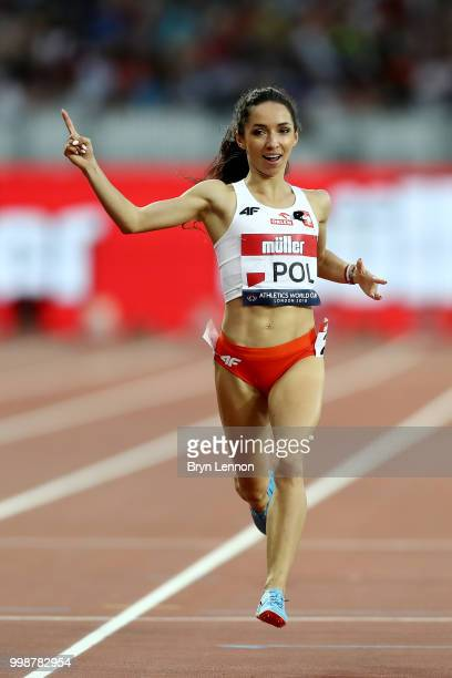 Sofia Ennaoui of Poland crosses the line to win the Women's 1500m during day one of the Athletics World Cup London at the London Stadium on July 14,...