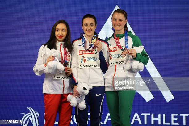 Sofia Ennaoui of Poland Laura Muir of Great Britain and Ciara Mageen of Ireland with their medals during the medal ceremony for the women's 1500m on...