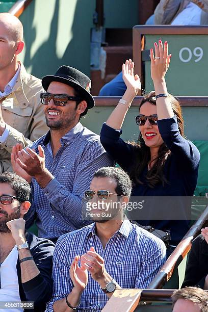 Sofia Essaidi and Adrien Galo attend the Davis Cup Semifinal France vs Czech Republic at Roland Garros on September 12 2014 in Paris France