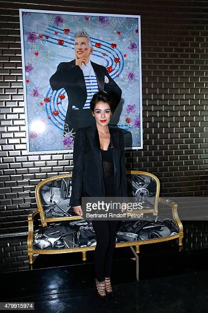 Sofia Essaidi poses Backstage after the Jean Paul Gaultier show as part of Paris Fashion Week HauteCouture Fall/Winter 2015/2016 on July 8 2015 in...