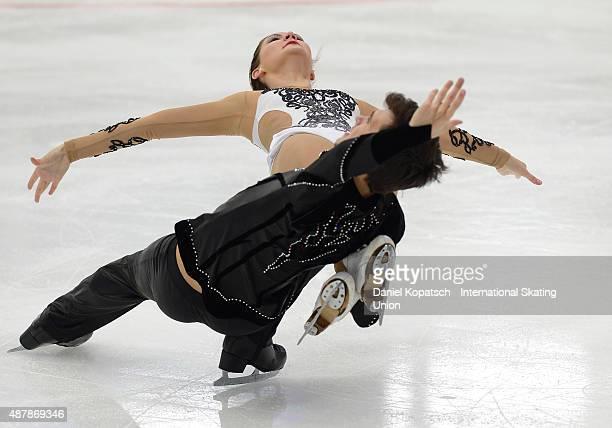 Sofia Evdokimova and Egor Bazin of Russia skate during the junior ice dance free dance on day three of the ISU Junior Grand Prix of figure skating on...