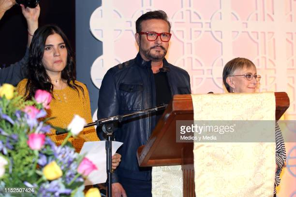 Sofia Garza Arturo Peniche and Susana Alexander during the first day of filming of the soap opera 'Cita a Ciegas' at Televisa San Angel on May 29...