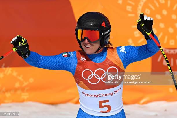 Sofia Goggia of Italy celebrates during the Alpine Skiing Women's Downhill at Jeongseon Alpine Centre on February 21 2018 in Pyeongchanggun South...