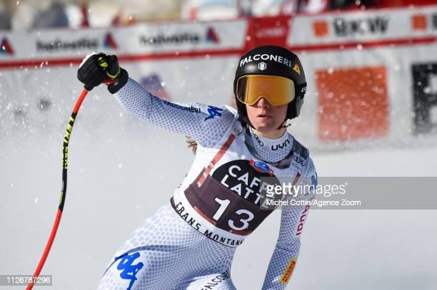 Sofia Goggia of Italy celebrates during the Audi FIS Alpine Ski World Cup Women's Downhill on February 23, 2019 in Crans Montana Switzerland.
