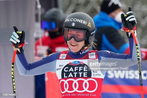 Sofia Goggia of Italy celebrates during the Audi FIS Alpine Ski World Cup Women's Downhill on January 23, 2021 in Crans Montana Switzerland.