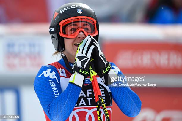 Sofia Goggia of Italy celebrates during the Audi FIS Alpine Ski World Cup Finals Men's and Women's Downhill on March 14 2018 in Are Sweden