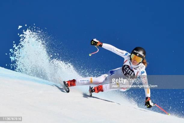 Sofia Goggia of Italy competes during the Audi FIS Alpine Ski World Cup Women's Downhill on February 23, 2019 in Crans Montana Switzerland.