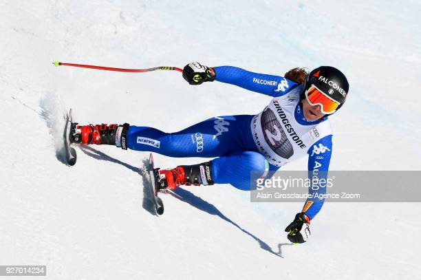 Sofia Goggia of Italy competes during the Audi FIS Alpine Ski World Cup Women's Combined on March 4 2018 in CransMontana Switzerland