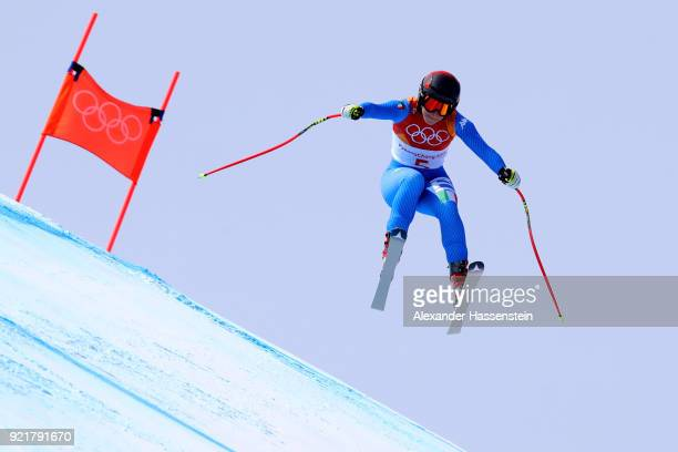 Sofia Goggia of Italy competes during the Ladies' Downhill on day 12 of the PyeongChang 2018 Winter Olympic Games at Jeongseon Alpine Centre on...