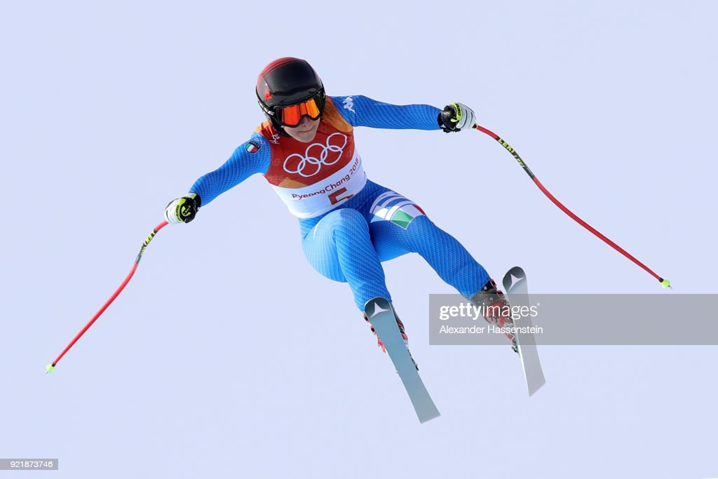 Sofia Goggia of Italy competes during the Ladies' Downhill on day 12 of the PyeongChang 2018 Winter Olympic Games at Jeongseon Alpine Centre on February 21, 2018 in Pyeongchang-gun, South Korea.