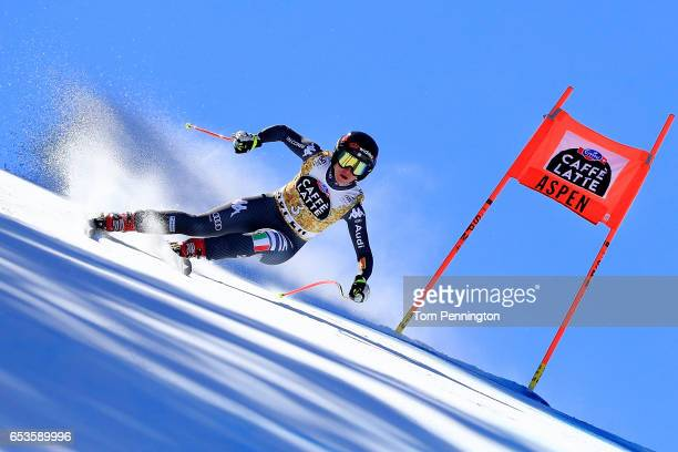 Sofia Goggia of Italy competes in the Ladies' Downhill for the 2017 Audi FIS Ski World Cup Final at Aspen Mountain on March 15 2017 in Aspen Colorado