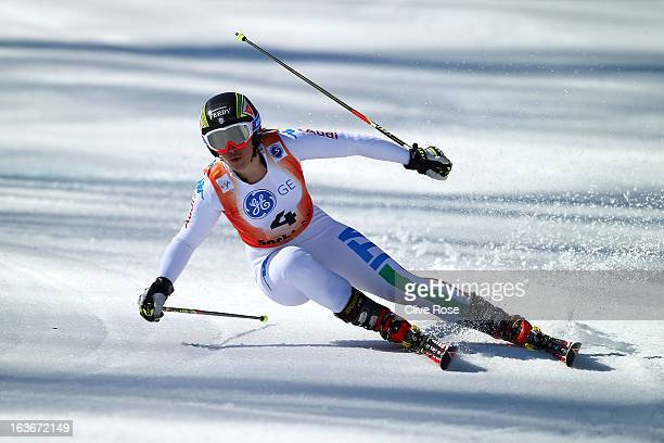Sofia Goggia of Italy competes in the Women's Giant Slalom during the FIS Alpine Skiing European Cup Finals at Rosa Khutor Alpine Center on March 14...