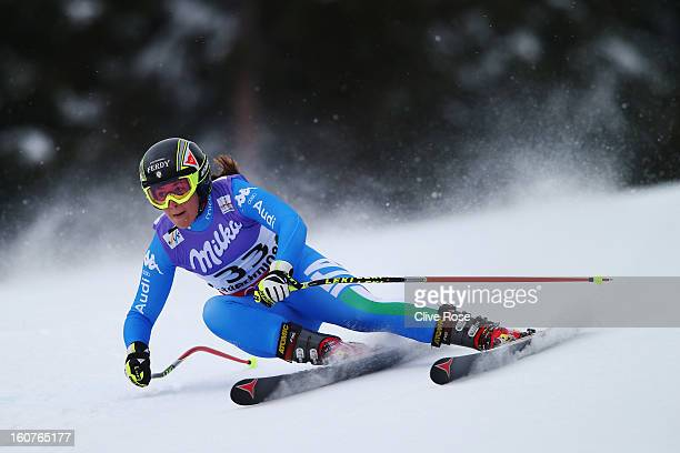 Sofia Goggia of Italy competes in the Women's Super G event during the Alpine FIS Ski World Championships on February 5 2013 in Schladming Austria