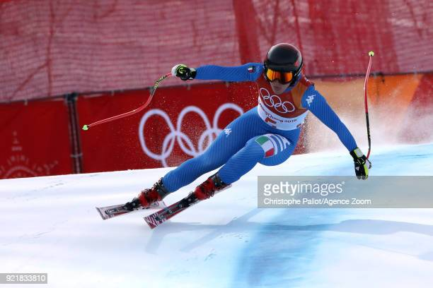 Sofia Goggia of Italy in action during the Alpine Skiing Women's Downhill at Jeongseon Alpine Centre on February 21 2018 in Pyeongchanggun South Korea