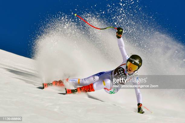 Sofia Goggia of Italy in action during the Audi FIS Alpine Ski World Cup Women's Downhill Training on February 21 2019 in Crans Montana Switzerland