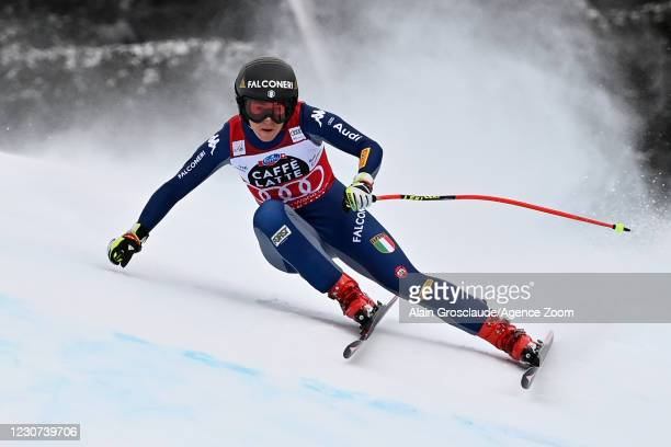 Sofia Goggia of Italy in action during the Audi FIS Alpine Ski World Cup Women's Downhill on January 23, 2021 in Crans Montana Switzerland.