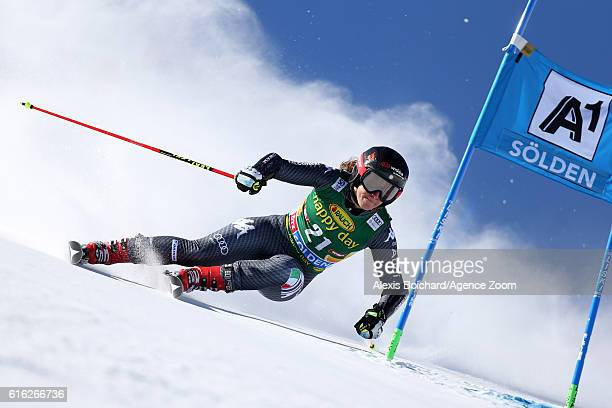 Sofia Goggia of Italy in action during the Audi FIS Alpine Ski World Cup Women's Giant Slalom on October 22, 2016 in Soelden, Austria