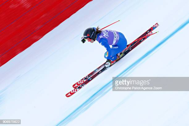 Sofia Goggia of Italy in action during the Audi FIS Alpine Ski World Cup Women's Downhill on January 19 2018 in Cortina d'Ampezzo Italy