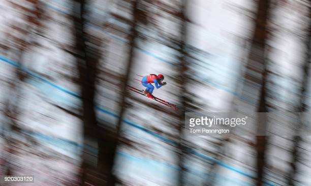 Sofia Goggia of Italy makes a run during Alpine Skiing Ladies' Downhill Training on day 10 of the PyeongChang 2018 Winter Olympic Games at Jeongseon...