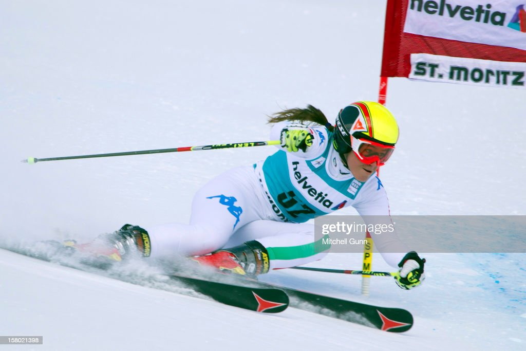 Sofia Goggia of italy races down the piste during the Audi FIS Alpine Ski World Giant Slalom race on December 9 2012 in St Moritz, Switzerland.