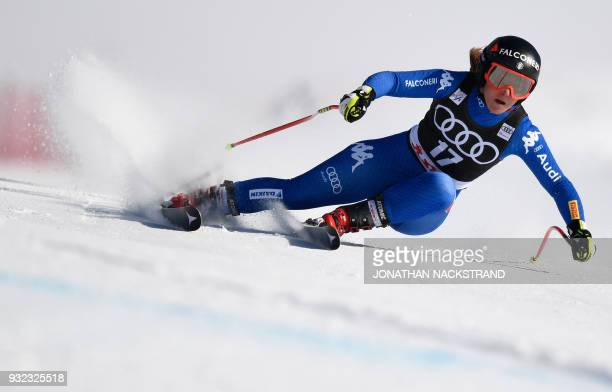 TOPSHOT Sofia Goggia of Italy races to win the Ladies' Super G event of the Alpine Skiing World Cup in Aare Sweden on March 15 2018 / AFP PHOTO /...