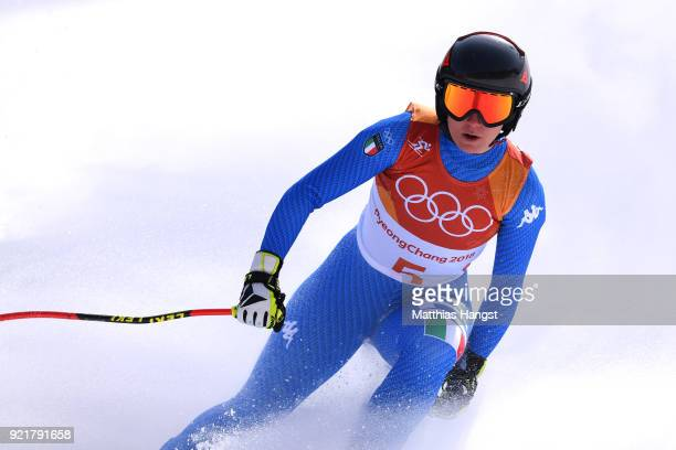 Sofia Goggia of Italy reacts at the finish during the Ladies' Downhill on day 12 of the PyeongChang 2018 Winter Olympic Games at Jeongseon Alpine...