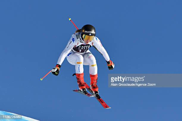Sofia Goggia of Italy takes 1st place during the Audi FIS Alpine Ski World Cup Women's Downhill Training on February 22 2019 in Crans Montana...