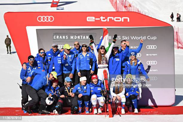 Sofia Goggia of Italy takes 1st place during the Audi FIS Alpine Ski World Cup Women's Downhill on February 23, 2019 in Crans Montana Switzerland.