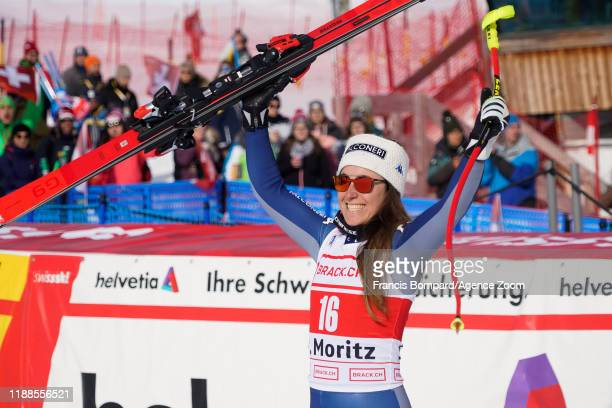 Sofia Goggia of Italy takes 1st place during the Audi FIS Alpine Ski World Cup Women's Super G on December 14 2019 in St Moritz Switzerland