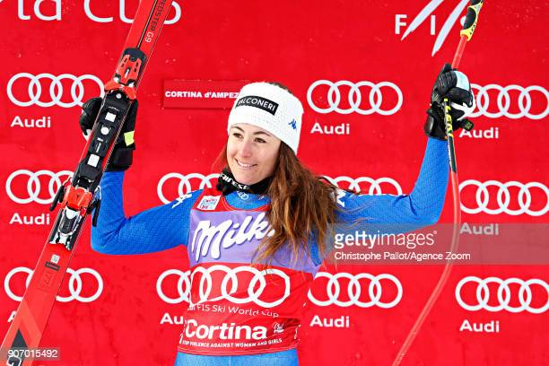 Sofia Goggia of Italy takes 1st place during the Audi FIS Alpine Ski World Cup Women's Downhill on January 19 2018 in Cortina d'Ampezzo Italy
