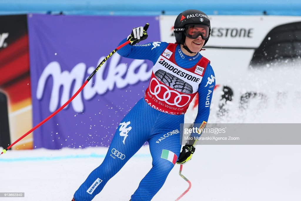 Sofia Goggia of Italy takes 2nd place during the Audi FIS Alpine Ski World Cup Women's Downhill on February 3, 2018 in Garmisch-Partenkirchen, Germany.