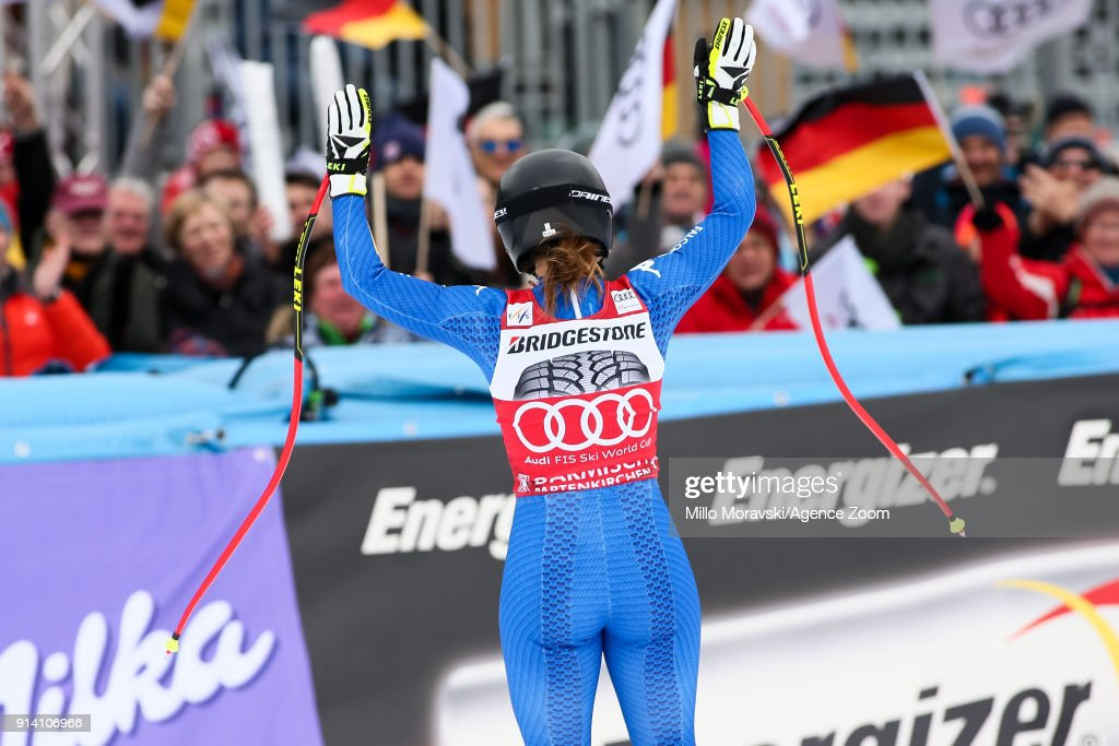 Sofia Goggia of Italy takes 2nd place during the Audi FIS Alpine Ski World Cup Women's Downhill on February 4, 2018 in Garmisch-Partenkirchen, Germany.
