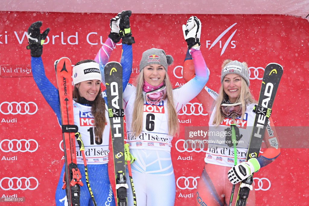 Sofia Goggia of Italy takes 2nd place, Lindsey Vonn of USA takes 1st place, Ragnhild Mowinckel of Norway takes 3rd place during the Audi FIS Alpine Ski World Cup Women's Super G on December 16, 2017 in Val-d'Isere, France.
